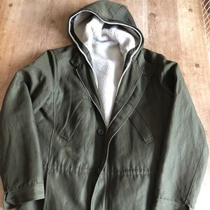 APC sherpa lined(button out) wool blend 3/4 parka